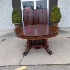 American Empire Mahogany Banquet Dining Table With 5 Leaves