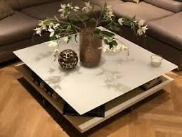 hülsta wohnzimmer couchtisch ct 90 weiß glas weiß lackiert