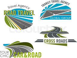 Road Trip Car Tour And Transit Travel Agency Icon Set Transportation Services Tourism Isolated Emblems With Speed Highway Asphalt Freeway
