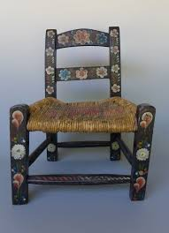 Old Vintage Mexican Hand Painted Black Wood Childs Chair 17 Tall