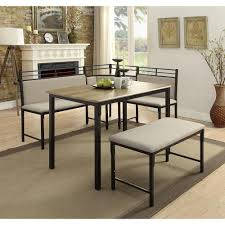 Boltzero 3 Piece Black And Tan Corner Dining Nook Set