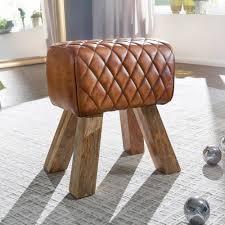 wohnling sitzhocker echtleder massivholz 40x48x27 cm