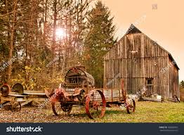 Lone Silo Christmas Tree Farm by Old Barn Farm Machinery Late Autumn Stock Photo 162855953