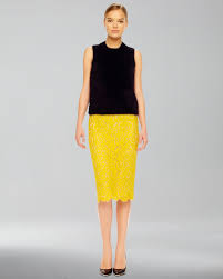 yellow lace pencil skirt dress ala