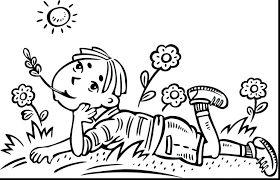 Boys Coloring Pages Daydreaming Boy Page Large Size
