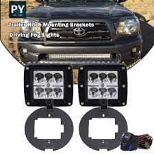 Tow Hitch Mounting Brackets + LED Fog Lights For 05-15 Toyota Tacoma ... Car Fog Lights For Toyota Land Cruiserprado Fj150 2010 Front Bumper 1316 Hyundai Genesis Coupe Light Overlay Kit Endless Autosalon Pair Led Offroad Driving Lamp Cube Pods 32006 Gmc Spyder Oe Replacements Free Shipping Hey You Turn Your Damn Off Styling Led Work Tractor For Truck 52016 Mustang Baja Designs Mount Baja447002 Jw Speaker Daytime Running And Fog Lights Toyota Auris 2007 To 2009 2013 Nissan Altima Sedan Precut Yellow Overlays Tint Oracle 0608 Ford F150 Halo Rings Head Bulbs 18w Cree Led Driving Light Lamp Offroad Car Pickup