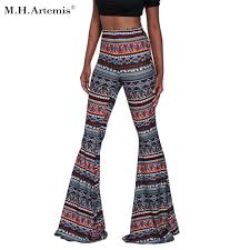 MHArtemis Boho Flare Pant Hot Ethnic Floral Print Wide Leg Pants Hippie Trousers Beach Long Exuma Slim Fit Palazzo S 2XL In Capris From