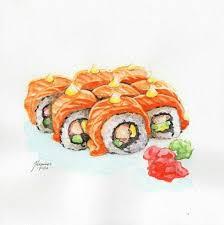 Watercolor Food Watercolor Sketch Watercolor Paintings Watercolors Food Drawing Sushi Drawing Drawing Ideas Food Sketch Food Painting