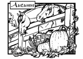 Fall Coloring Pages Printable Stable Autumn
