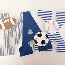 Soccer Themed Bedroom Photography by Hanging Wooden Letters Sports Theme Baseball Football Soccer