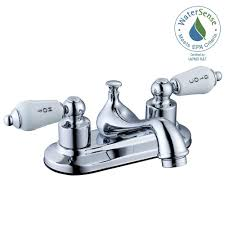 Home Depot Bathroom Faucets Chrome by Glacier Bay Teapot 4 In Centerset 2 Handle Low Arc Bathroom