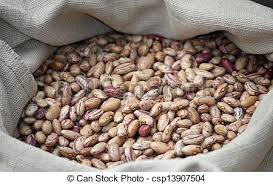 Dried Beans In A Jute Bag For Sale At Vegetable Market Stock Photo