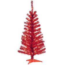 National Tree Company 4 Ft Red Tinsel Artificial Christmas With Clear Lights