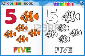 Coloring Page Number Five With Colorful Sample Printable Worksheet For Preschool Kindergarten Kids To Improve Basic