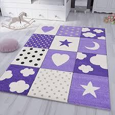 vimoda kinderteppich kinderzimmer flauschiger lila teppich herzchen wölkchen patchwork optik maße 133 x 190 cm