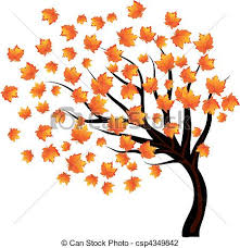 Lonley Tree With Falling Leaves The Wind Vector Illustration