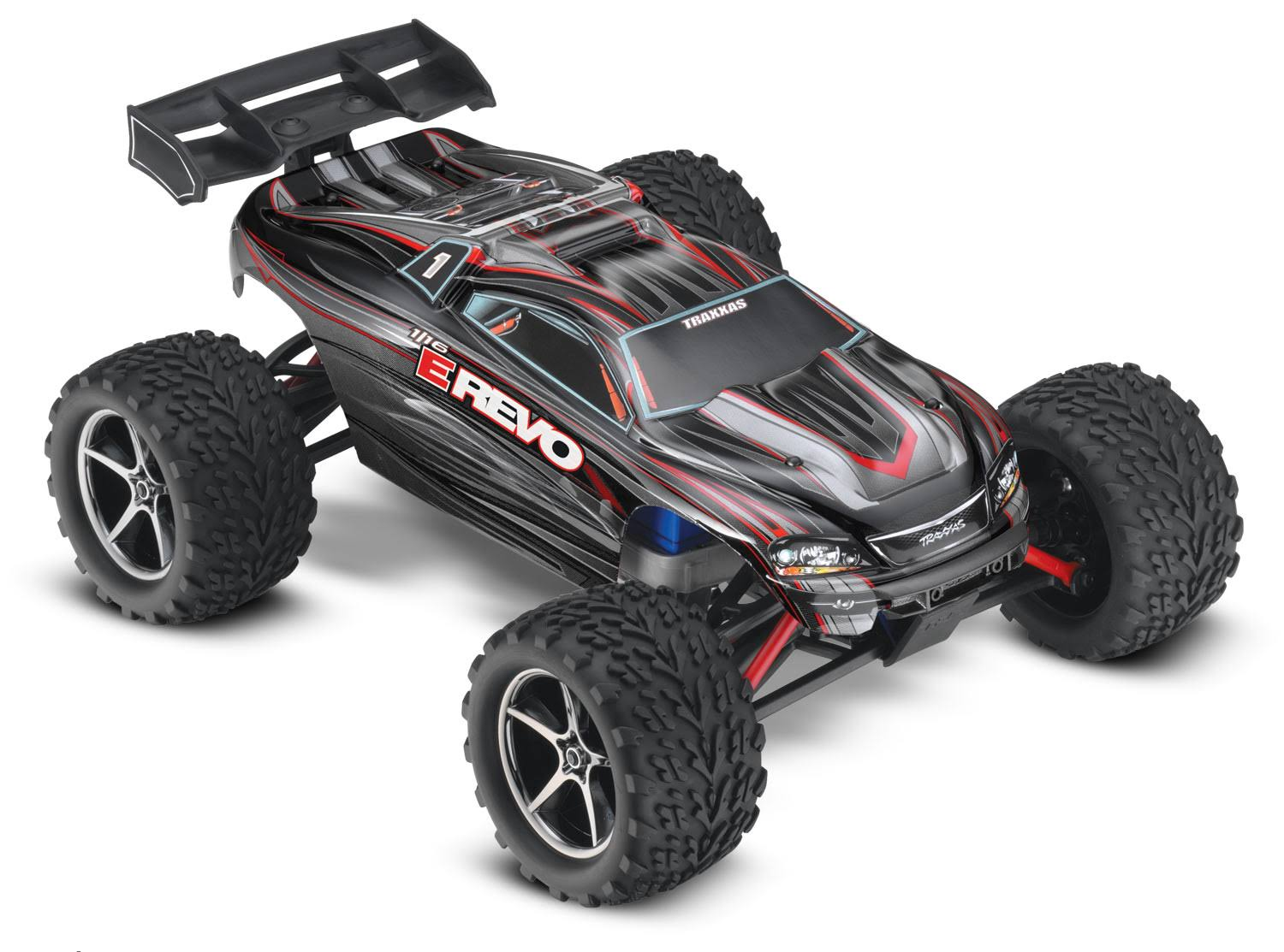 Traxxas E-Revo 4WD Racing Monster Truck - Black, 1/16 Scale, with TQ 2.4GHz Radio