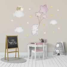 elefant ballon aufkleber babyzimmer wanddeko