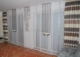helle wohnzimmer schiebegardine mit zwei seitenschals in