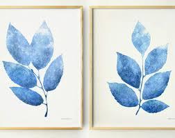 blue wall art etsy