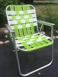 Vintage Aluminum Folding Chair Green White Webbed Patio Lawn ...