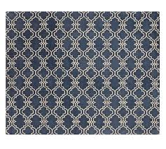 scroll tile rug indigo blue pottery barn
