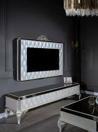 casa padrino luxus barock tv schrank weiß gold schwarz 235 x 52 x h 54 cm edles massivholz lowboard mit tv wand wohnzimmerschrank