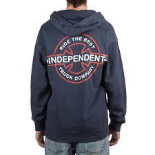 100 Independent Trucks Hoodie Underground Zip Up Navy
