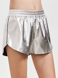 metallic silver faux leather shorts shein sheinside