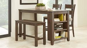 Mellow Morning Brown 4 Pc Kitchen Island Counter Height Dining Set