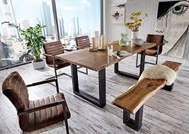 sam stilvoller esszimmertisch quentin 160x90 cm aus akazie holz tisch mit schwarz lackierten beinen baum tisch mit