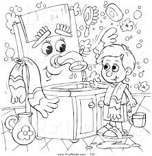 Coloring Page Outline Design Of A Boy Talking To Sink
