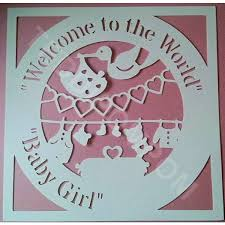 Welcome To The World Baby Girl Birth Announcement Papercut SVG Cutting File FrameDesign Template Papercutting Card Making