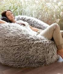 Giant Bean Bag Deluxe Brown Faux Fur Extra Large Furry Uk