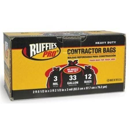Ruffies Pro 1124911 33 Gallon Black Contractor Clean-Up Bags 12 Count