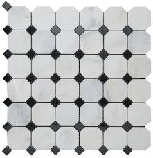 bianco white carrara marble with black dot polished mesh mounted tile