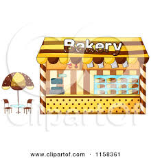 Clipart of a Bakery Building Facade