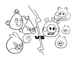Angry Bird Versus Pigs Colouring Page Coloring
