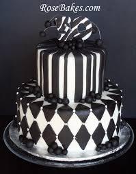 Black White 50th Birthday Cake 590x753