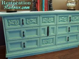 Aqua Distressed Chalkpainted Dresser Chalk Paint Painted Furniture