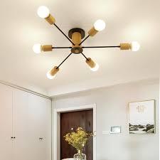 nordic style gold kronleuchter 6 köpfe holz pendelleuchte für wohnzimmer tisch flur esszimmer leuchte