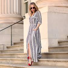 2016 side slit long dress for women split maxi dress turn
