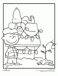 Charlie Brown Christmas Coloring Page With Snoopy Woo Jr Kids Throughout Pages