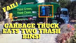 100 Garbage Truck Videos Eats Up Two Trash Bins Then Drives Off LIKE A BOSS