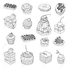 Set of cute cake Outline illustration Stock Vector
