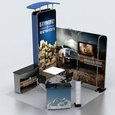 10ft Portable Fabric Trade Show Display Kits Exhibition With TV Bracket Podium