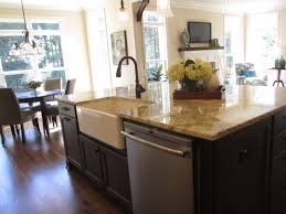 Scenic Small Space Kitchen Decors Added Farmhouse Island With Sink Also Marble Countertops As Well Dining Room Decorating Views