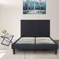 Black Leather Headboard With Diamonds by Sleeplanner 18 Inch Queen Size Metal Bed Frame With Faux Leather