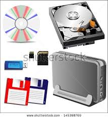 Different Types Of Storage Devices External And Internal Vector Illustration