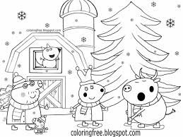 Cute Kids Simple Drawing Winter Farm Rabbit And Bull Peppa Pig Christmas Colouring Pages To Print